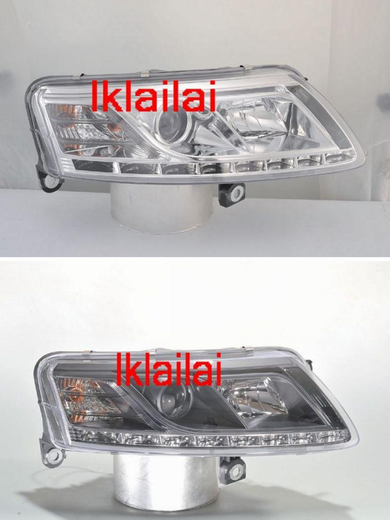 SONAR Audi A6 '04-09 Projector Head Lamp R8 DRL [Chrome/Black]