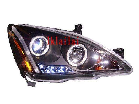 SONAR Honda Accord '03-06 Projector Head Lamp LED Ring Black Housing
