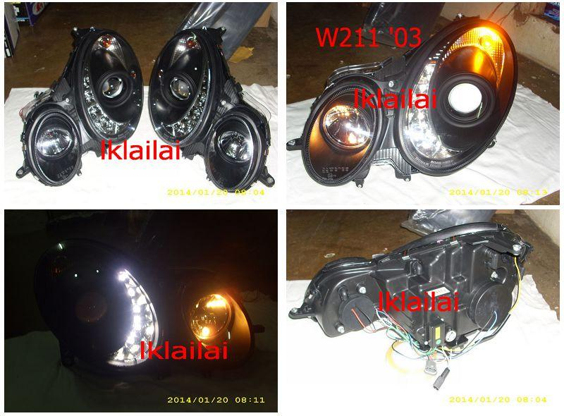 SONAR Mercedes BENZ W211 '03/'07 Projector Head Lamp LED DRL R8 Black