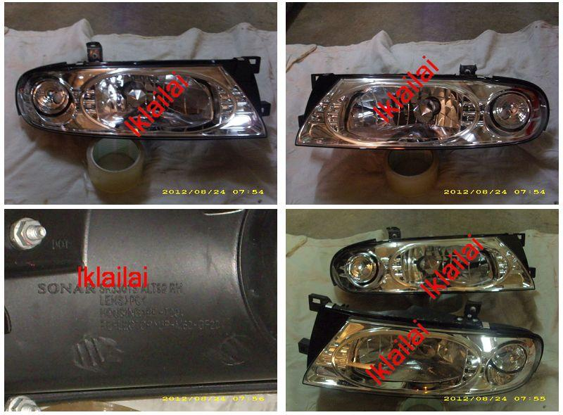 SONAR Nissan Altima '92-96 Crystal Head Lamp Chrome Housing