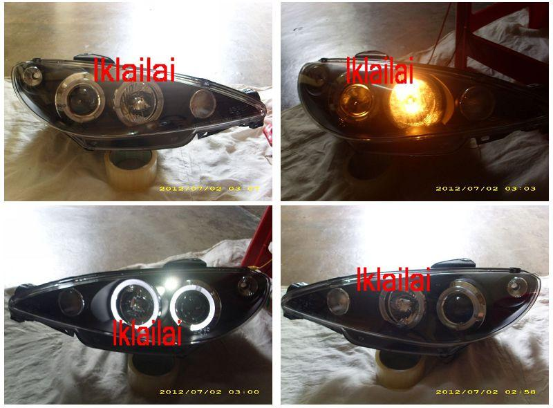 SONAR Peugeot 206 `98-05 HEAD LAMP BLACK PROJECTOR LED RING