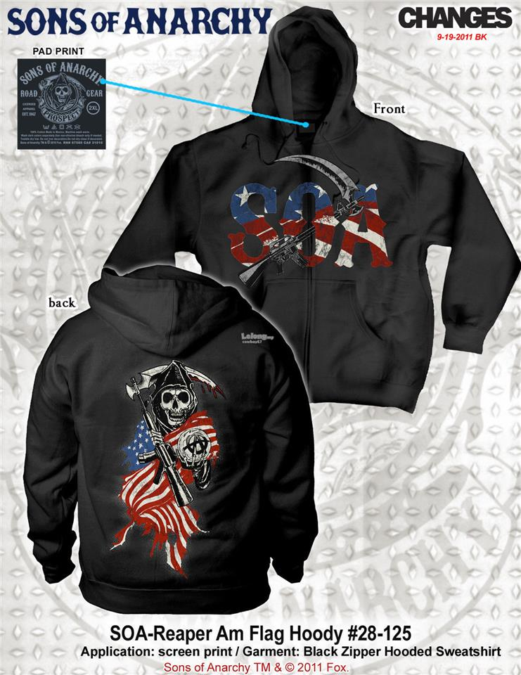 Sons Of Anarchy Reaper And American Flag Adult Zip Up Hoodie  - New