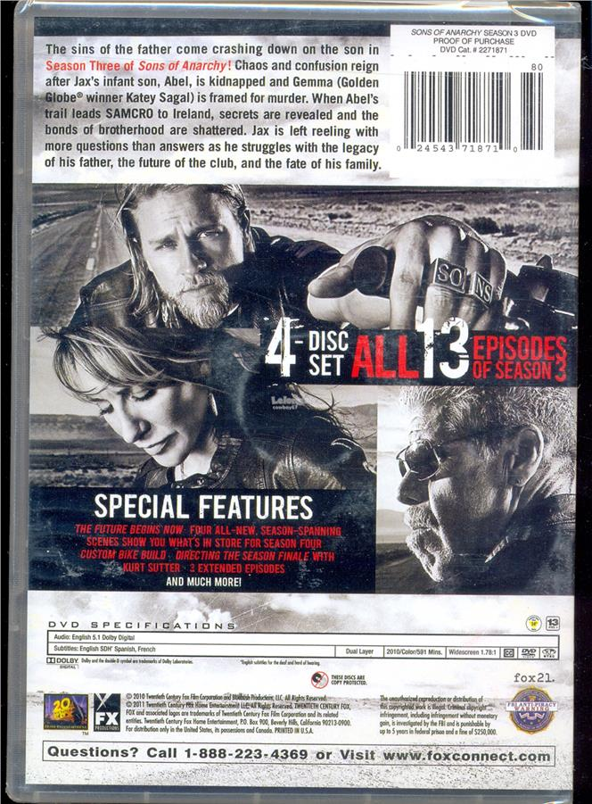 Sons Of Anarchy Season 3 - New DVD