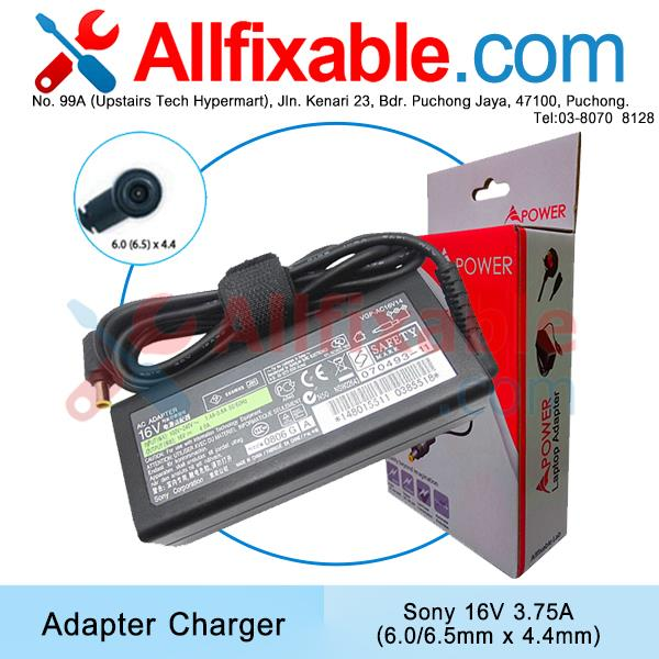 Sony 16V 3.75A Vaio PCG PCG-C1 PCG-GR PCG-GT PCG-SR Adapter Charger