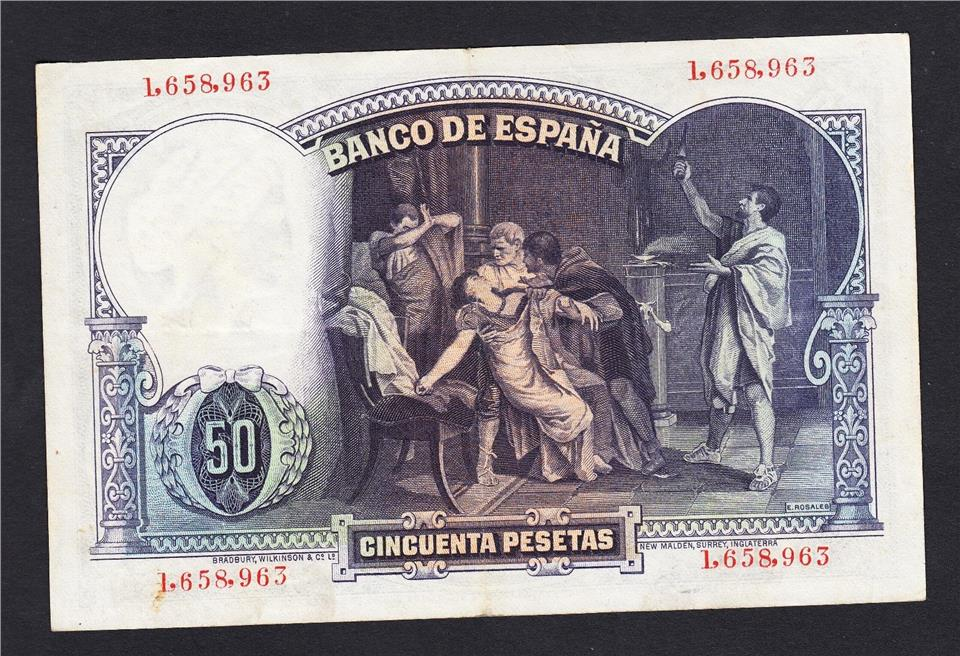 Spain 50 Pesetas 1931 p32 circulated