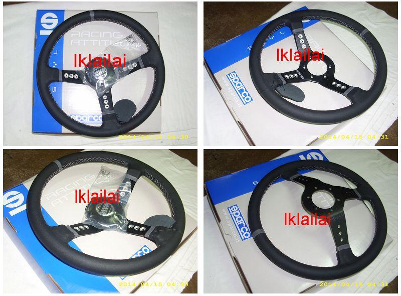 Sparco Sport Steering Wheel with Horn [Black Leather] 14 Inch