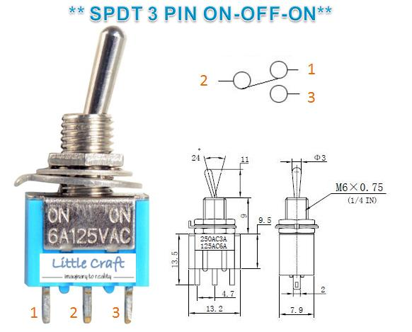 SPDT 3 Pins 2 Position Miniature Toggle Switch