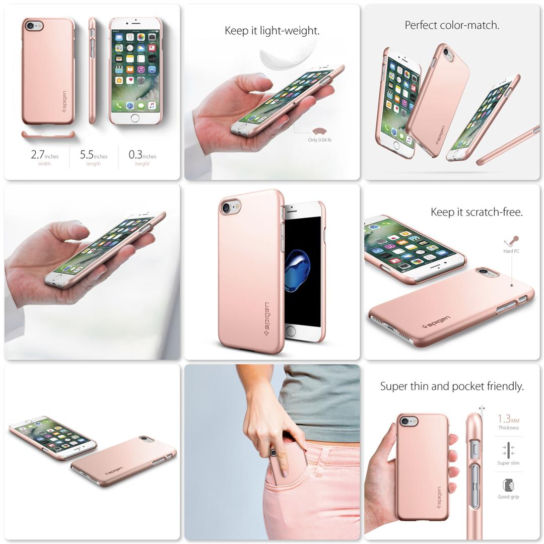 Spigen Thin Fit Case for Apple iPhone 7 Plus (Rose Gold)