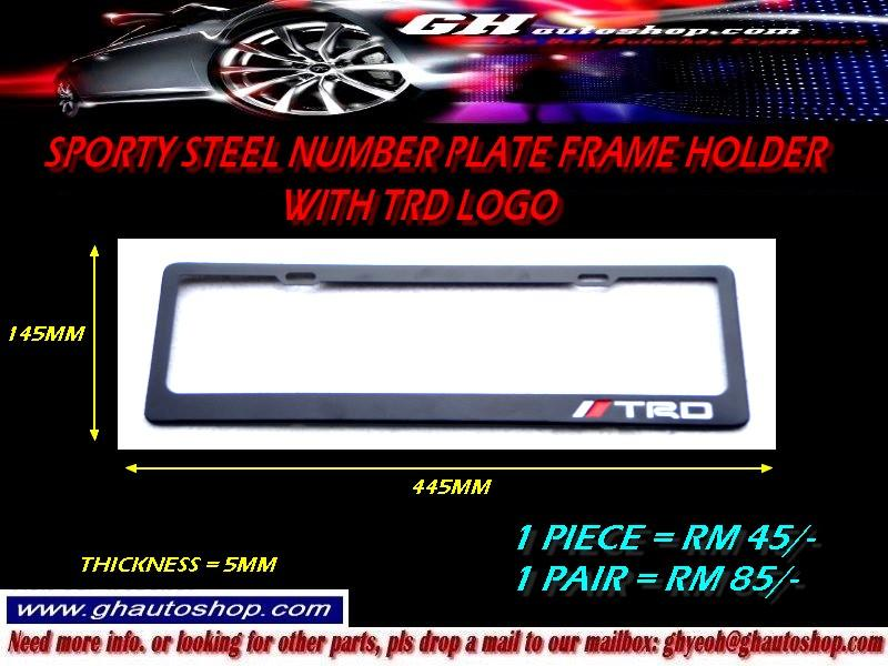 SPORTY STEEL TRD LOGO NUMBER PLATE FRAME HOLDER