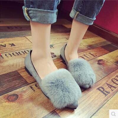 Spring autumn bunny fur design pointed flat sandal