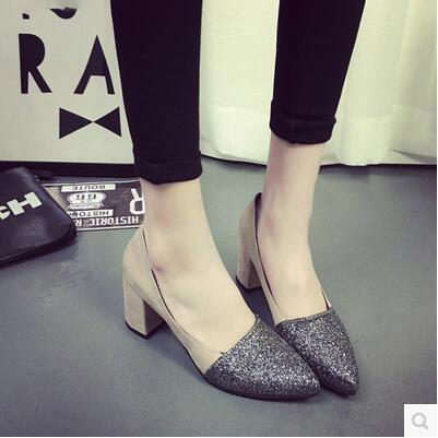 Spring autumn Korea version shinny pointed high heel sandal