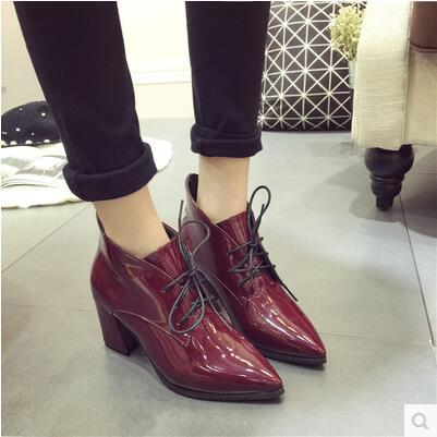 Spring autumn thick heel pointed Korea version martin boot