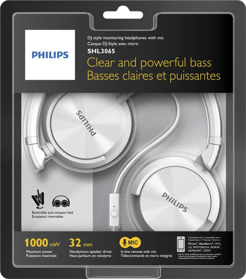 ST. PHILIPS HEADSET WIRED SHL3065WT/00 WHITE