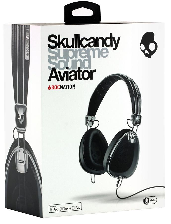 ST. SKULLCANDY HEADSET WIRED AVIATOR OVER-EAR S6AVFM-156 BLACK CHROME