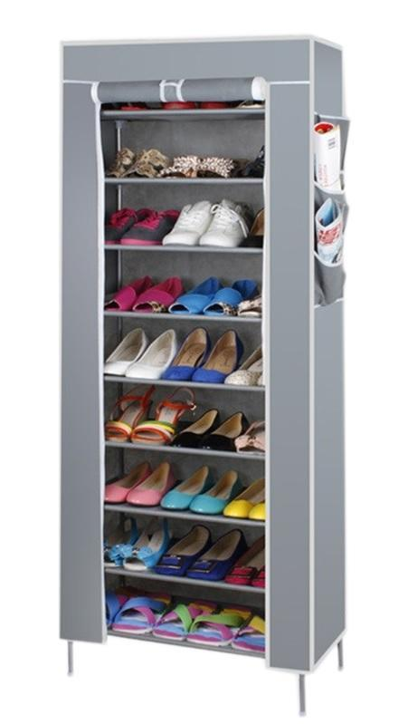 Stackable Shoe Cabinet 10 Tier 9 Column Shoe Rack with Dust Cover Grey