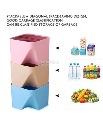 STACKABLE SPACE SAVING SORTING TRASH BIN