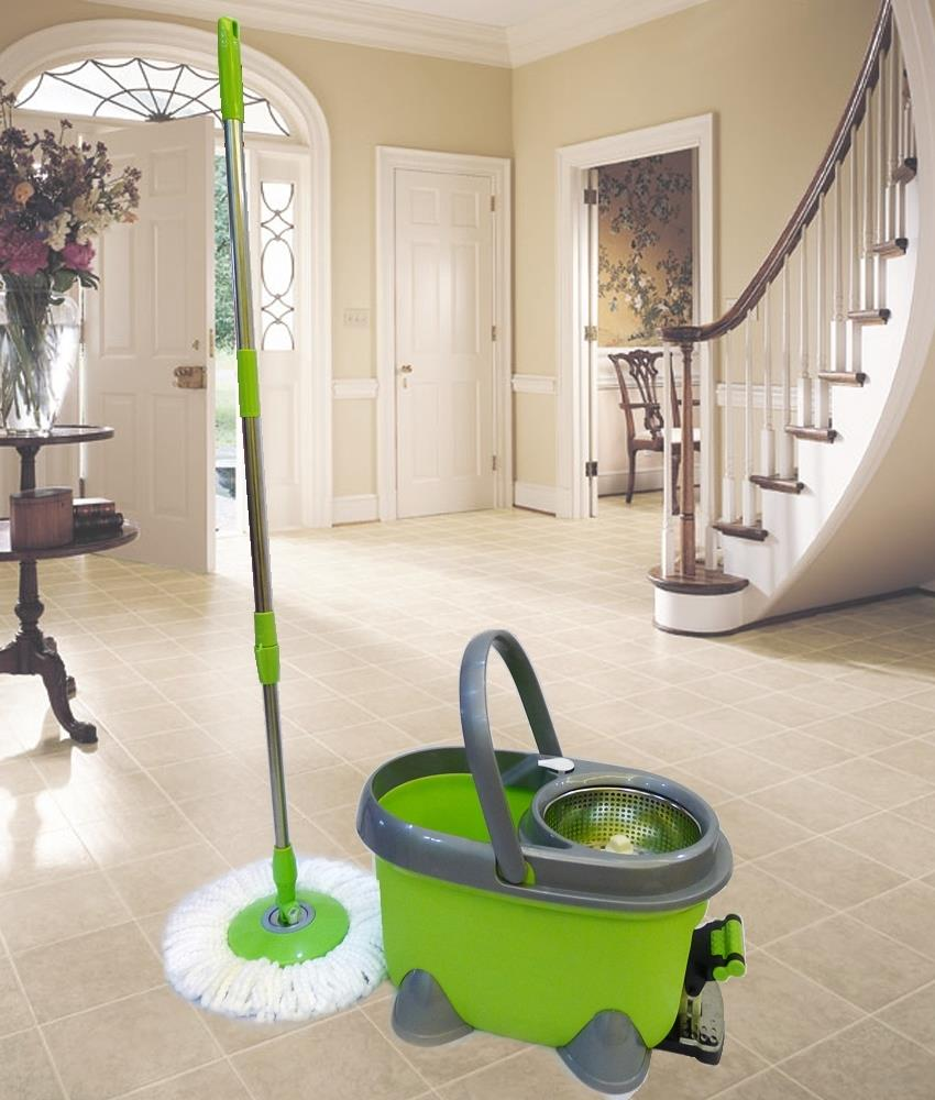 Stainless Steel Basket Magic Mop with 2 x Microfibre Mop Cloth