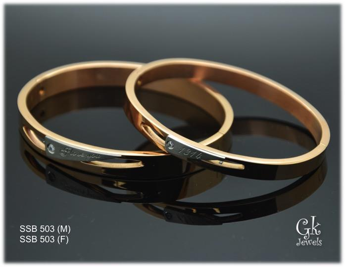 Stainless steel couple Bangle SSB 503 per pair
