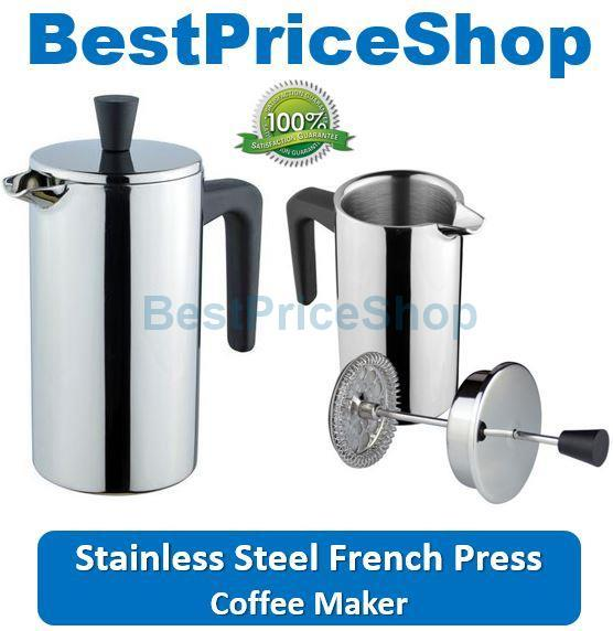 High End French Press Coffee Maker : Stainless Steel Double Wall French Press Coffee Ma (end 3/8/2017 12:04:00 PM)