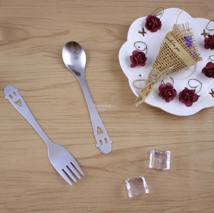 Stainless steel smiling face / Cutlery set / Fork & Spoon