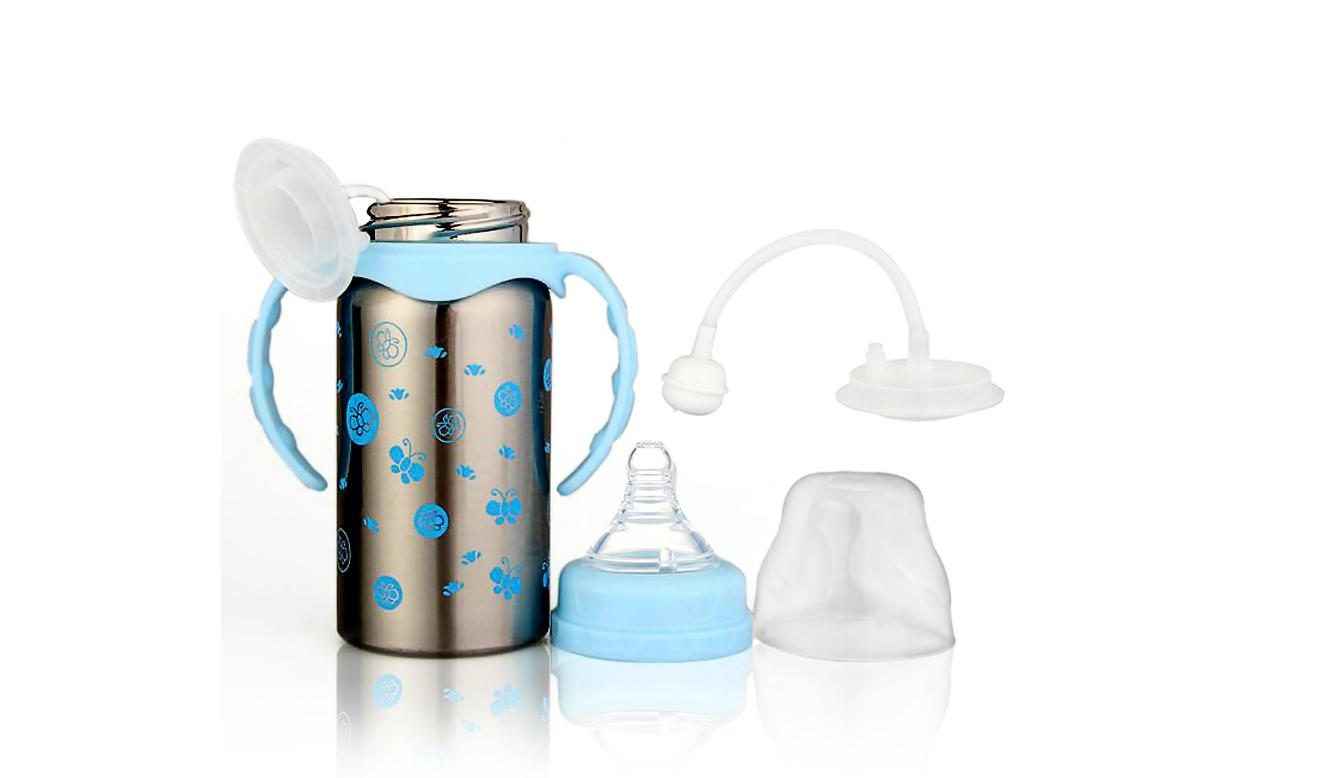Stainless Steel Thermal Baby Bottle (220ml) (Blue)