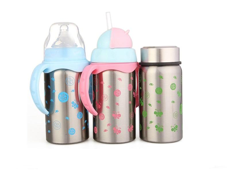 Stainless Steel Thermal Baby Bottle (300ml) (Pink)