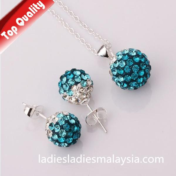Sterling Silver Gradient Crystal Ball Jewellery Sets