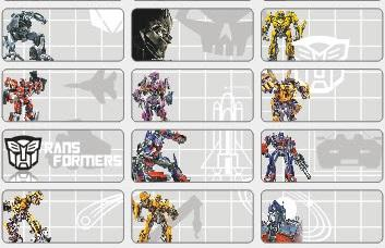 Name stickers, 78pcs - Transformer