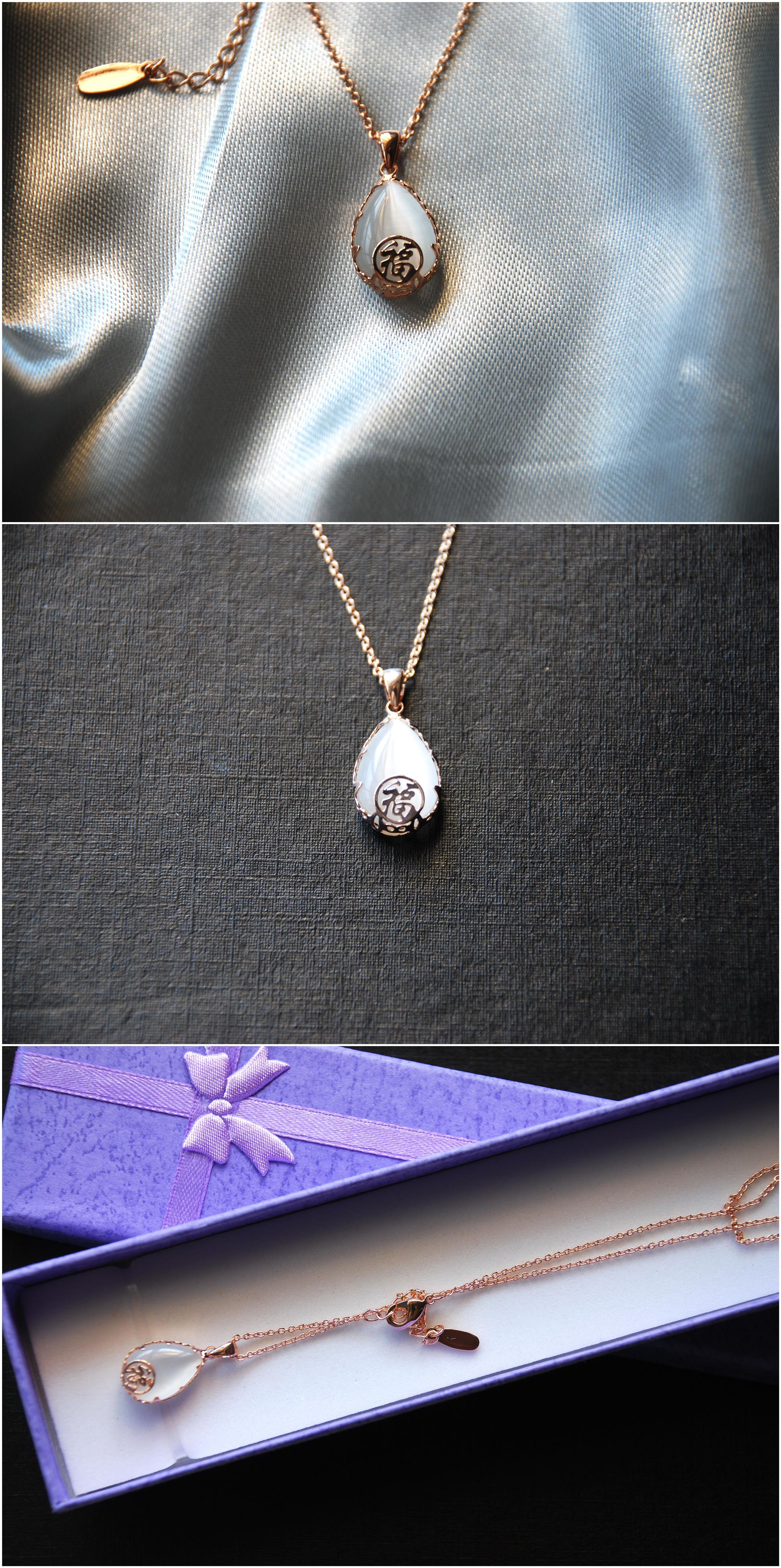 [Stock Clearance] Gold plated Waterdrop with FU Pendant Necklace