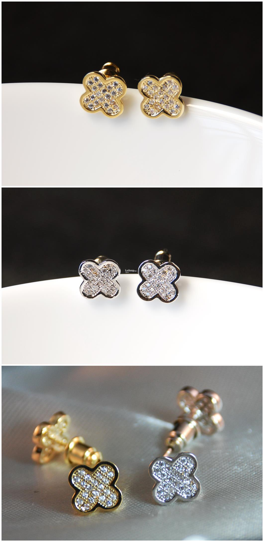 [Stock Clearance] Korean Earrings - Crystals 4-Leaf Lucky Clover #4