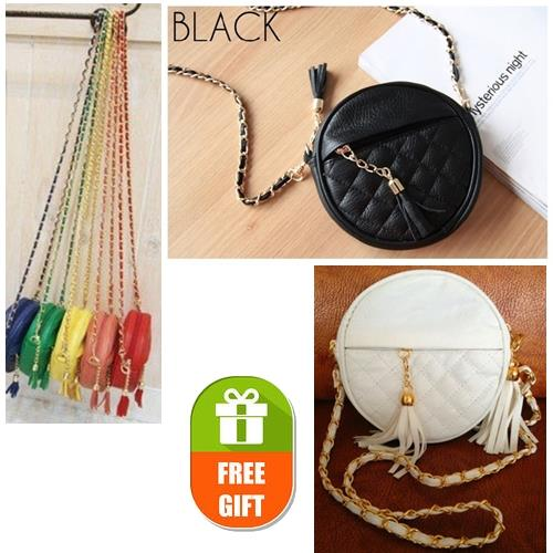 Stone Round Quilted Mini Sling Bag PU Faux Leather Tassel Metal Chain