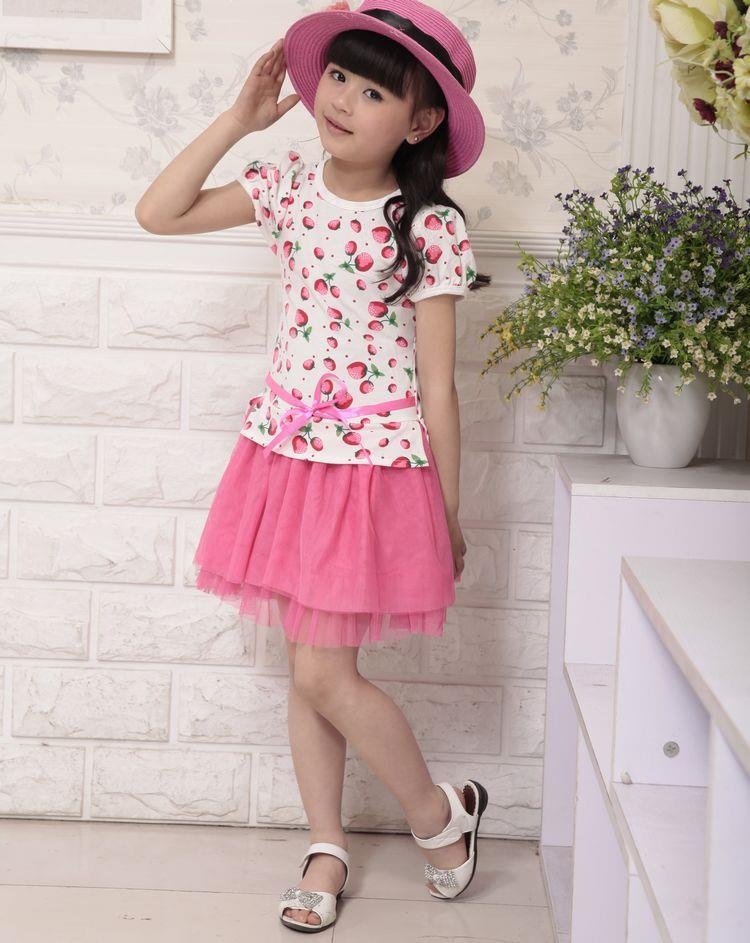Strawberry Printed Girls Dress