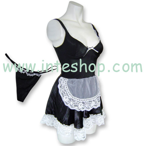 Stretchable French Maid Costume LaceTrimmed Apron-M