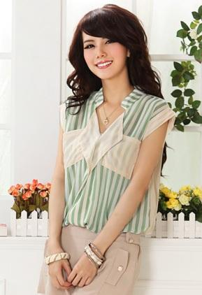 Stripe Show-slim Shirt (Green)