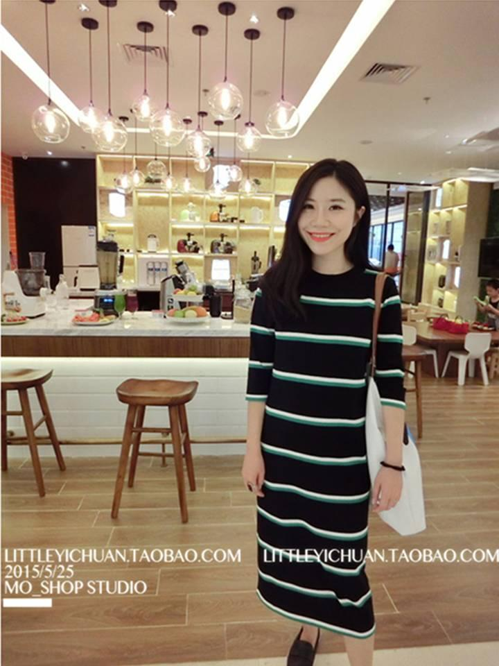 Striped Knitted Dress (Code:E3527)