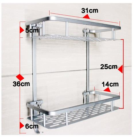 Strong adhesive wall mounted square Shelf without drilling(2tiers)