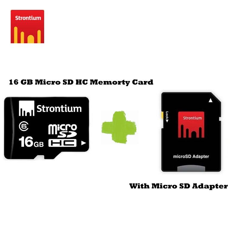 Strontium 16GB Micro Sd Card Class 6 with Adaptor to SC Card