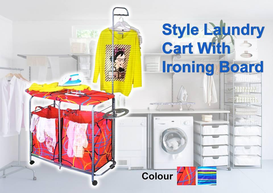 Style laundry car with ironing board