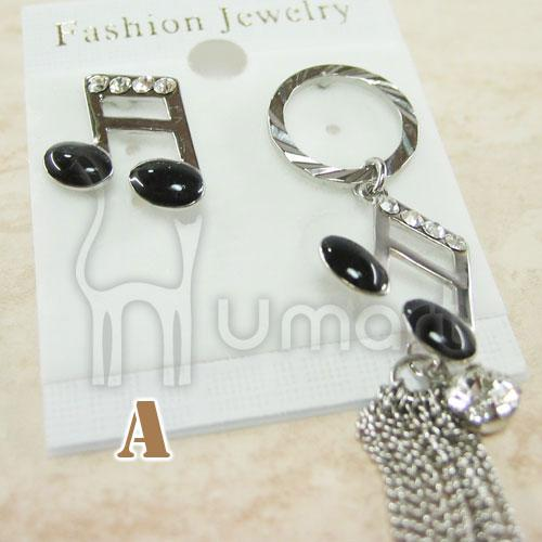 Stylish Black and White Diamond Pearl Music Notes Earrings