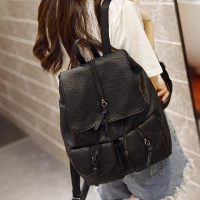 Stylish Ladies PU Backpack in Black 33cm*23cm *12cm