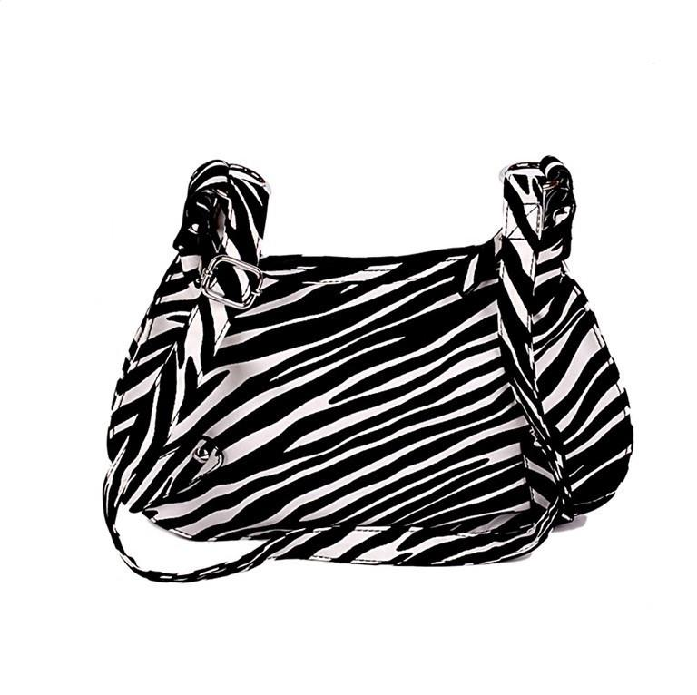 Stylish Zebra Stripe Adaptable Strap Bag Black&White