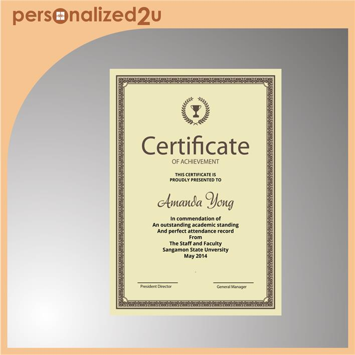 Sublimation Certificate with Hanging String