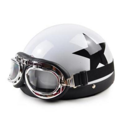 Summer Helmet Cool Black Star Half Goggles Motorbike Safety Helmet