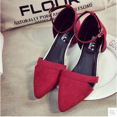 Summer Korea version thick heel pointed hollow Roma sandal
