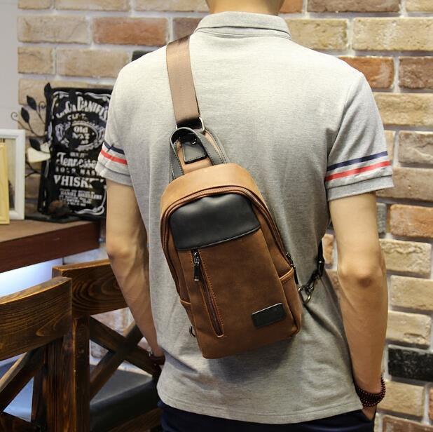 Summer Korean tide crazy horse leather leisure travel male chest bag