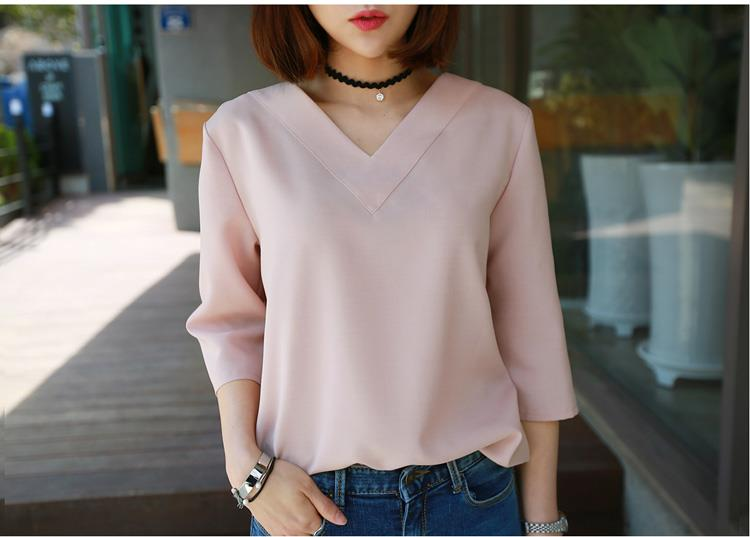 Summer Tops V-neck Chiffon Blouse Shirt Women Office Ladies
