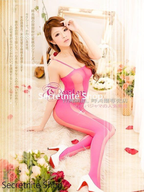 Sun @ Pink Mesh Crotchless Sexy Bodystocking BS-218