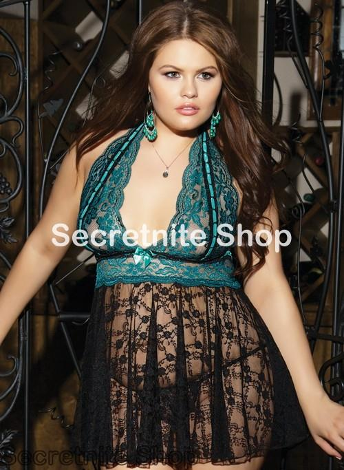 Sun @Plus Size Totally Turquoise Babydoll and Thong XL, XXL Size PL-56