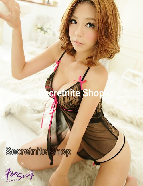 Sun@ Sexy Black Babydoll with G-string S-529