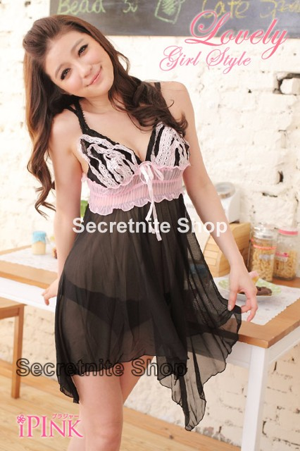 Sun @ Sexy Black Babydoll Lingerie with G-string S-1026